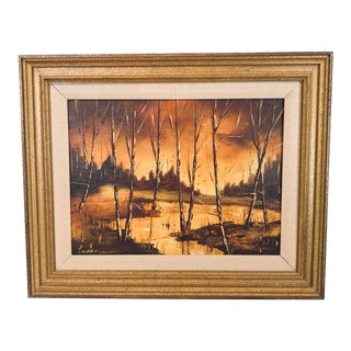 1960s Vintage Oil on Canvas Painting For Sale
