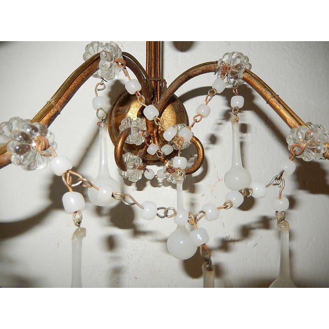 Crystal French White Opaline Beads Beaded Sconces, circa 1920 For Sale - Image 7 of 10