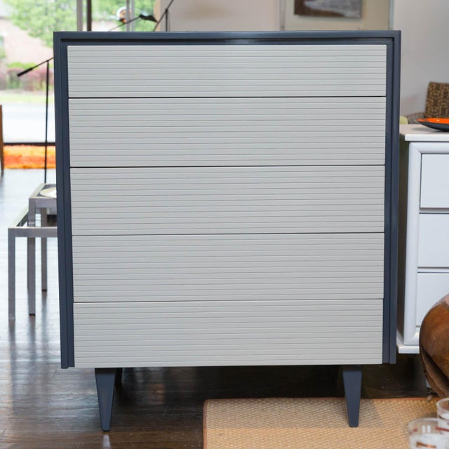 Two Tone Lacquered Mid-Century Modern Tall Dresser - Image 2 of 9