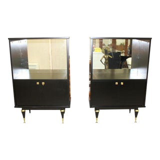 Beautiful French Art Deco Ebonized Sideboard / Bar Display Cabinets - A Pair Circa 1940s
