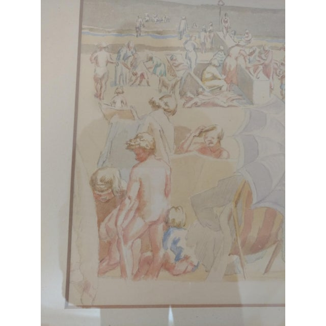 1920 French Nude Beach by Thérèse Lessore Paintings - a Pair For Sale - Image 9 of 13