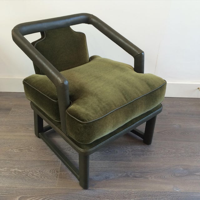 Green Leather & Mohair Lounge Chair - Image 7 of 10