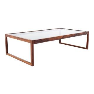Mid Century Rosewood and Glass Coffee Table For Sale