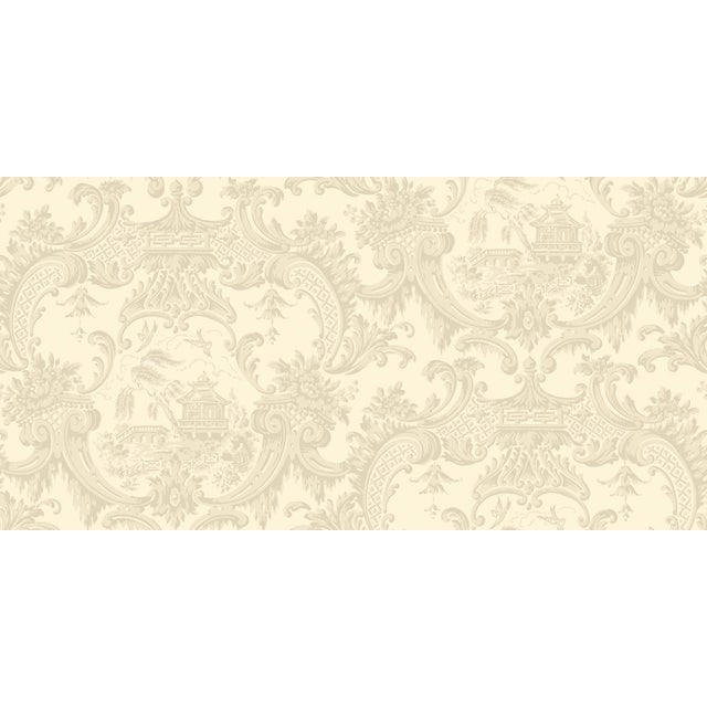 English Chippendale China Classic Damask Style Wallpaper - 11 Yards For Sale - Image 3 of 4