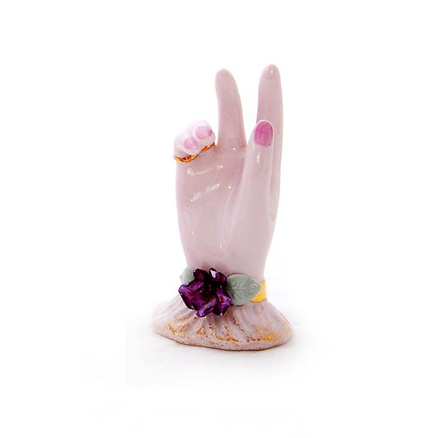 Pink Porcelain Hand Ring Holders- A Pair - Image 2 of 4