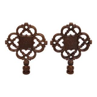 Pierced Quatrefoil Lamp Finials - a Pair For Sale