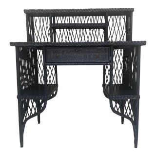 1960s Navy Rattan Writing Desk With Topper For Sale