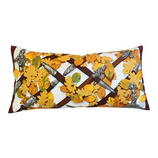 "French Hermès ""Au Plus Dru"" Silk Feather/Down Pillow 34"" X 17"" For Sale"