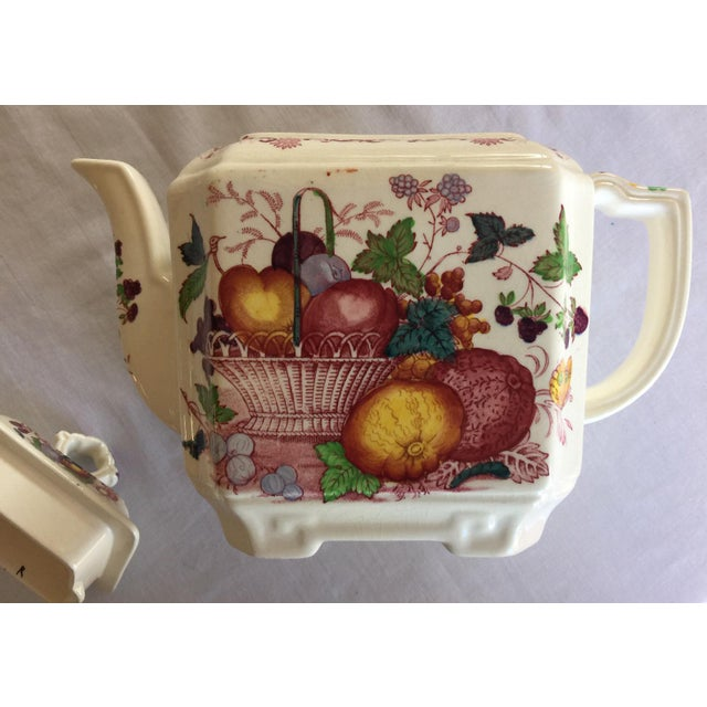 English Traditional Vintage Mason's Red Multicolor Fruit Basket Ironstone Teapot For Sale - Image 3 of 10