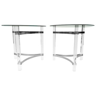 Pair of Lucite and Chrome Side Tables For Sale