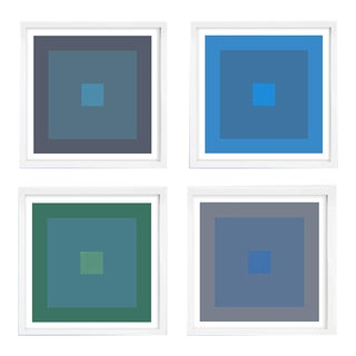 Modern Geometric Cool Tones Prints in White Frames - Set of 4 For Sale