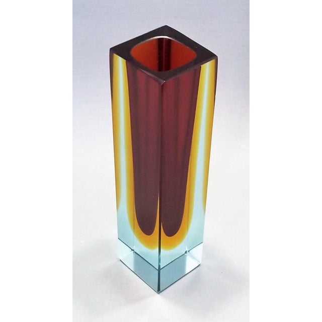 1970s Murano Blue Red and Yellow Glass Vase by Mandruzzato For Sale In Miami - Image 6 of 12