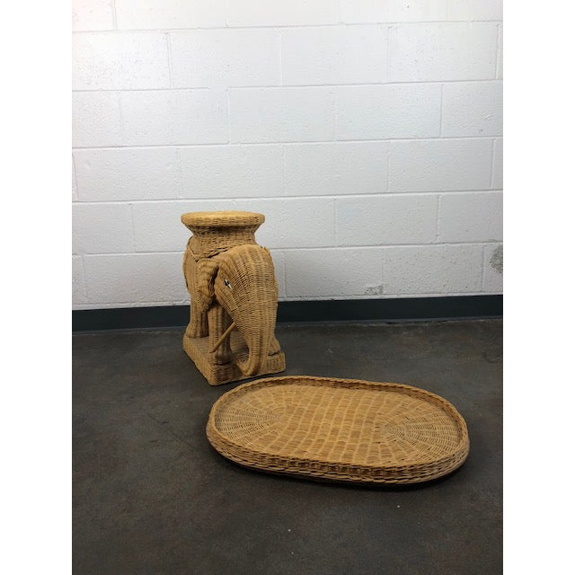 1960s Vintage Woven Rattan Elephant Tray Table For Sale - Image 5 of 13