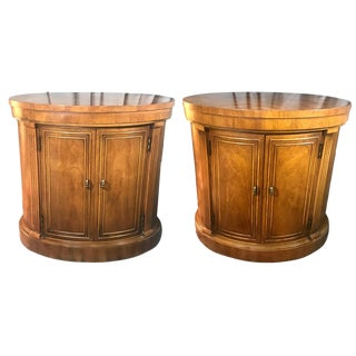 20th Century Hollywood Regency Drexel Inlaid Burl Wood Oval Drum Cabinet Side Tables – a Pair For Sale