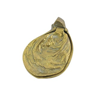 Antique Brass Oyster Shell Trinket Box For Sale