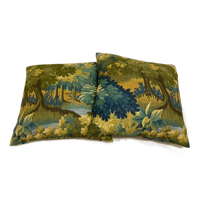 2020s Scenic Flora Green Trees Linen Print Pillows - a Pair For Sale - Image 5 of 6