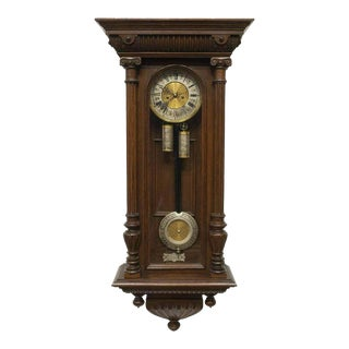 19th Century Antique German Lenzkirch Oak Cased Regulator Wall Clock For Sale
