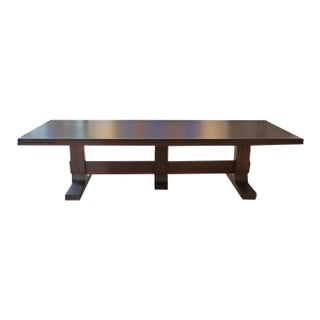 Custom Made Solid Walnut Trestle Dining/Conference Table For Sale