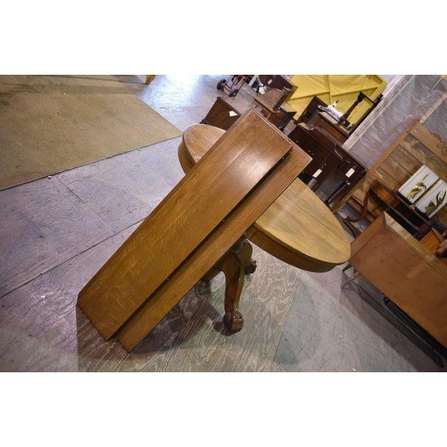 c8ebcdc88257 Walnut Antique Round Tiger Stripe Quarter Sawn Oak Dining Table For Sale -  Image 7 of