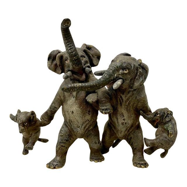 """Miniature Geschutz Vienna Bronze """"Elephant Family"""" Sculpture For Sale"""