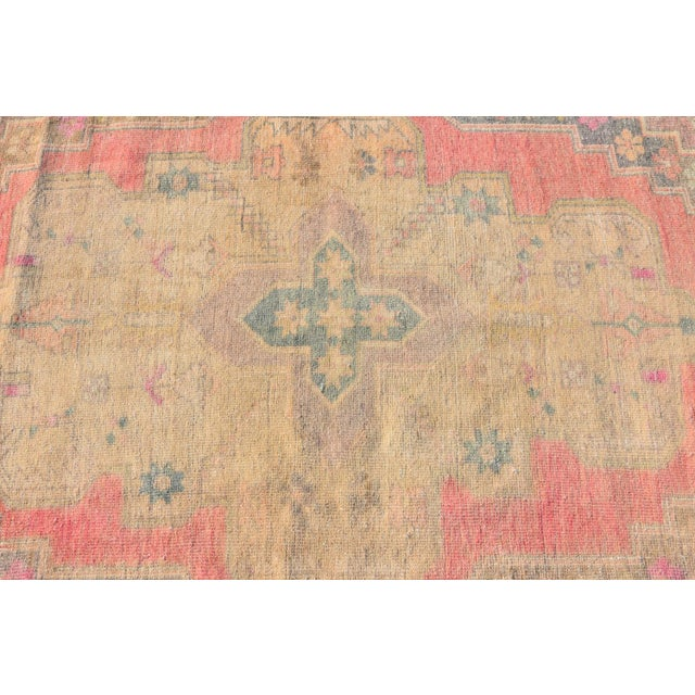 Antique Hand Knotted Oushak Muted Red Wool Area Rug 4 1