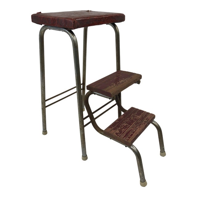 Fabulous Vintage Industrial Red Folding Step Stool Ocoug Best Dining Table And Chair Ideas Images Ocougorg