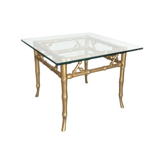 Gilded Metal Faux Bamboo Accent Table