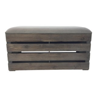 Modern Wood Slat Storage Benche For Sale