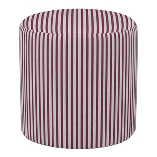Drum Ottoman in Lacquered Fairfield Stripe For Sale