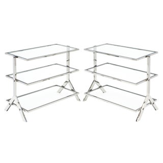 Chrome and Glass Console / Side Tables - a Pair For Sale