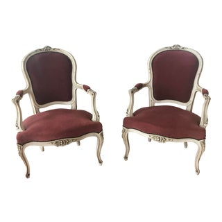 Early 20th Century Vintage French Bergere Chairs- a Pair For Sale