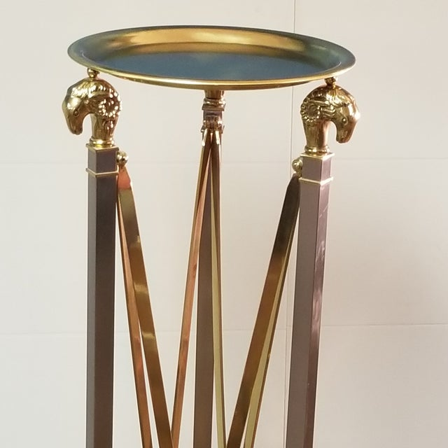 Hollywood Regency Maison Jansen Style Ram's Head Pedestal Planter Stands - A Pair For Sale - Image 3 of 6