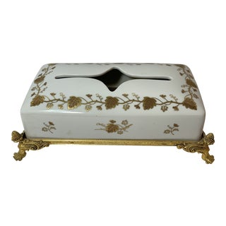 20th Century Hollywood Regency Porcelain and Gilt Tissue Dispenser For Sale
