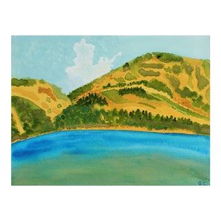 "Gaétan Caron ""California Summer Lake"" Mendocino Landscape in Watercolor, 2017 For Sale"