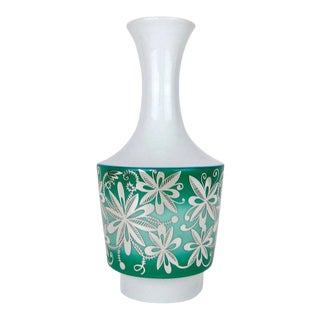 Spahr & Co. Silver Overlay Vase in Green and White Porcelain For Sale