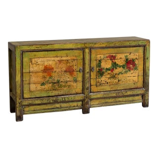 Early 20th Century Painted Chinese Sideboard Cabinet For Sale