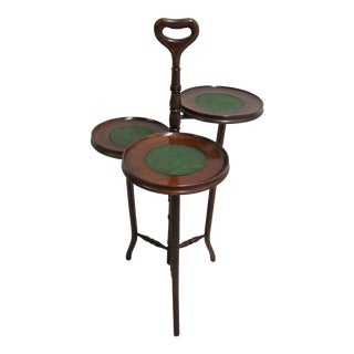 Traditional Mahogany 3 Tier Leather Top Plant Stand For Sale