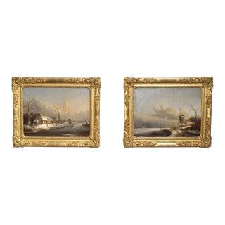 Pair of Antique French Winter Scene Paintings. Albert Lenoir, 1851 For Sale