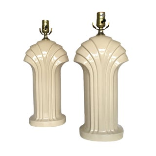 1980's Cream Ceramic Deco Styles Table Lamps - a Pair For Sale
