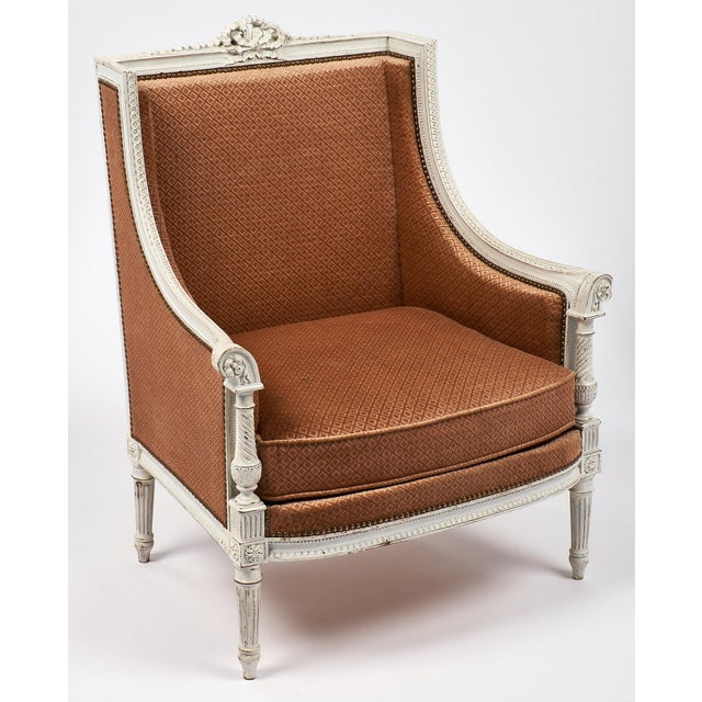 Antique French Louis XVI Style Bergère For Sale - Image 4 of 7