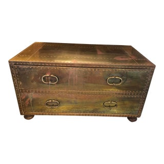 1960s Vintage Sarreid Two Drawer Campaign Brass Chest For Sale