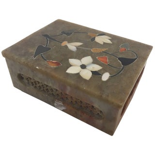 Anglo-Raj Marble Inlay Box Pietra Dura For Sale