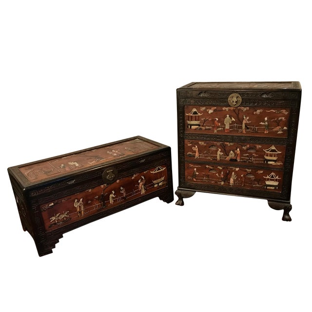 Antique Chinese Carved Camphor Wood Trunk and Dresser Set With Inlaid Stone For Sale