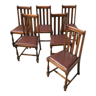 20th Century English Traditional Oak Dining Chairs - Set of 6