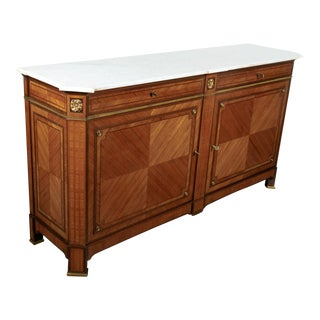 Rare Maison Gouffé Louis XVI Style Marble Top Parquetry Buffet, Signed For Sale