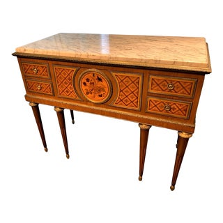Antique French Louis XVI Parquetry Inlaid Marble-Top Commode For Sale