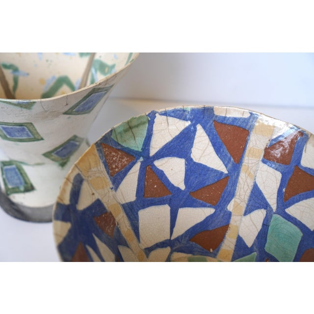Rustic Patterned Pottery Vases - A Pair - Image 5 of 8
