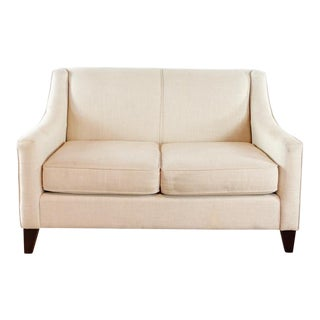 Bassett Furniture Contemporary Two Cushion Upholstered Loveseat For Sale