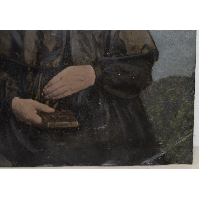 Portraiture 19th Century Portrait of a Woman on Tin For Sale - Image 3 of 7