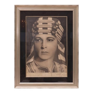 """1942 Silent Film Icon """"Rudolph Valentino"""" Pencil Drawing by Paul Pappakustas For Sale"""